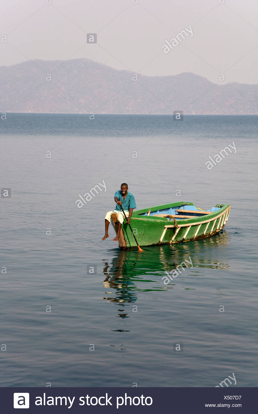 Fisher boat, Mumbo Island Camp, Cape Maclear Peninsula, Lake Malawi, Malawi, South East Africa - Stock Image