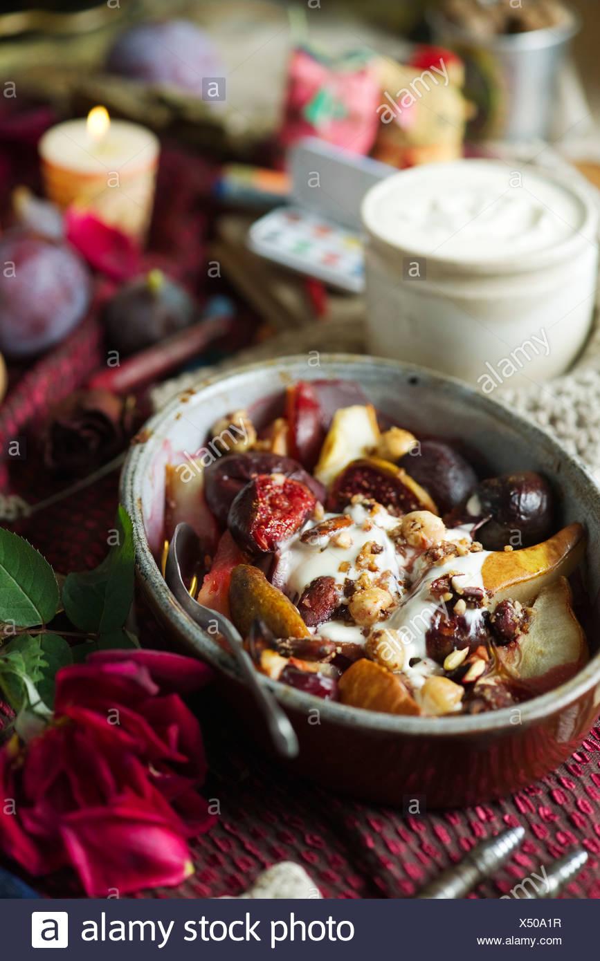 Warm Autumn Fruit Salad Stock Photo Alamy