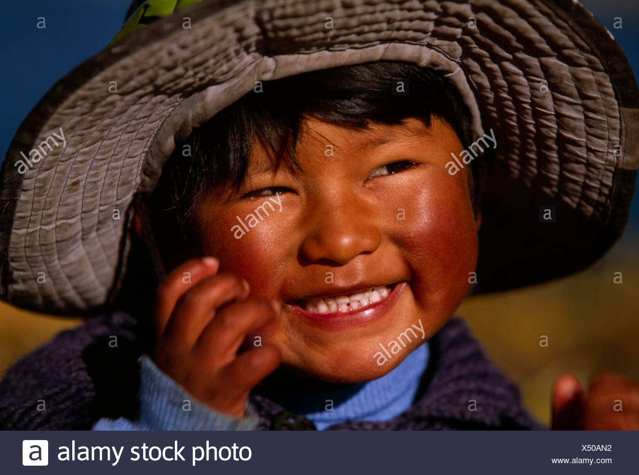 Child of the Uro folk, Titicacsee, Puno, Peru, South America - Stock Image