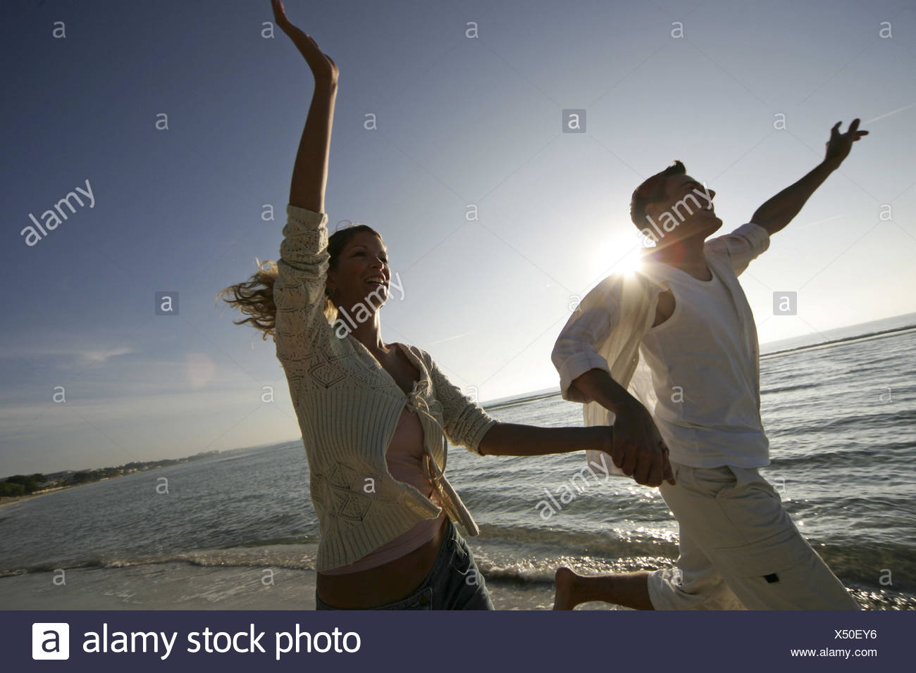 Beach, vacation, summers, pair, runs, cheerfully, omitted, - Stock Image