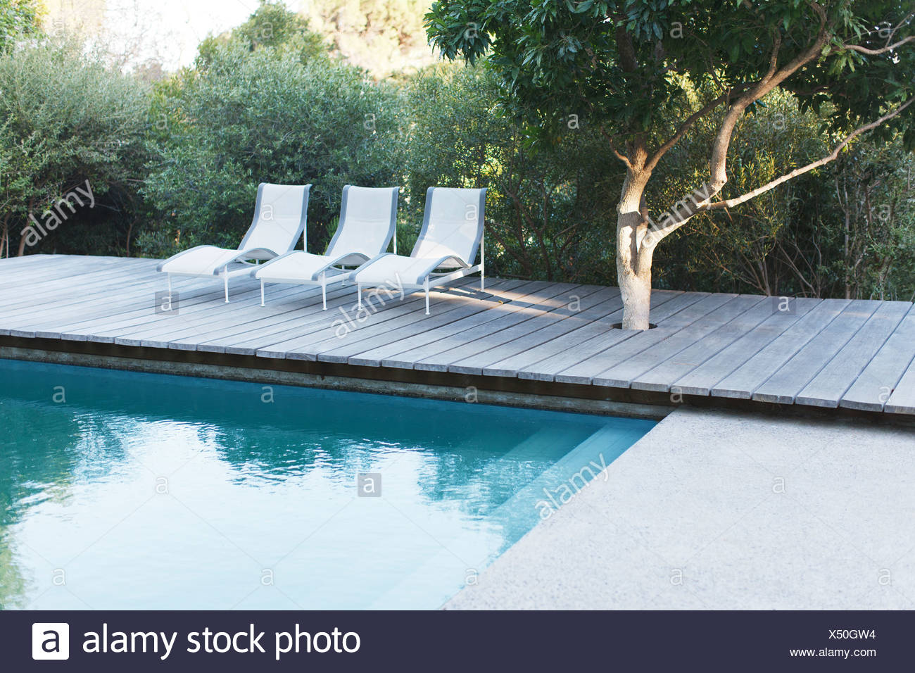Outdoor Natural Gas Fire Pit Table, Wooden Deck And Lounge Chairs By Swimming Pool Stock Photo Alamy