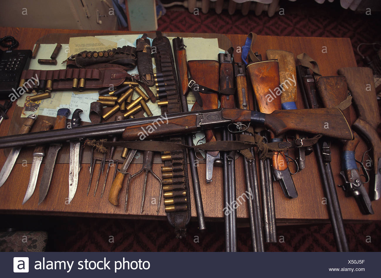 POACHER'S WEAPONS - Stock Image