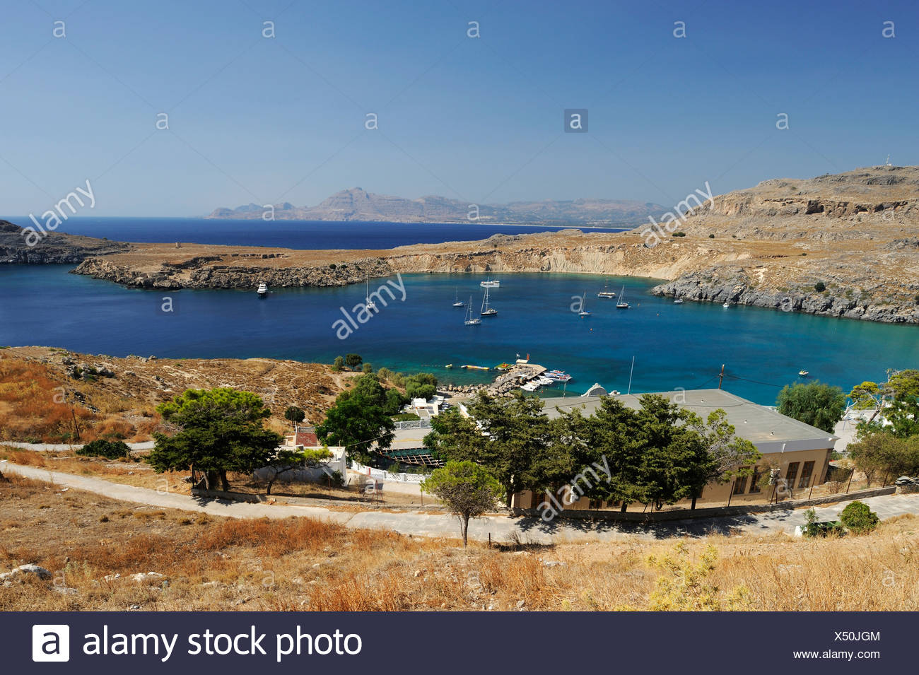 Bay of Lindos, Rhodes island, Greece, Europe - Stock Image