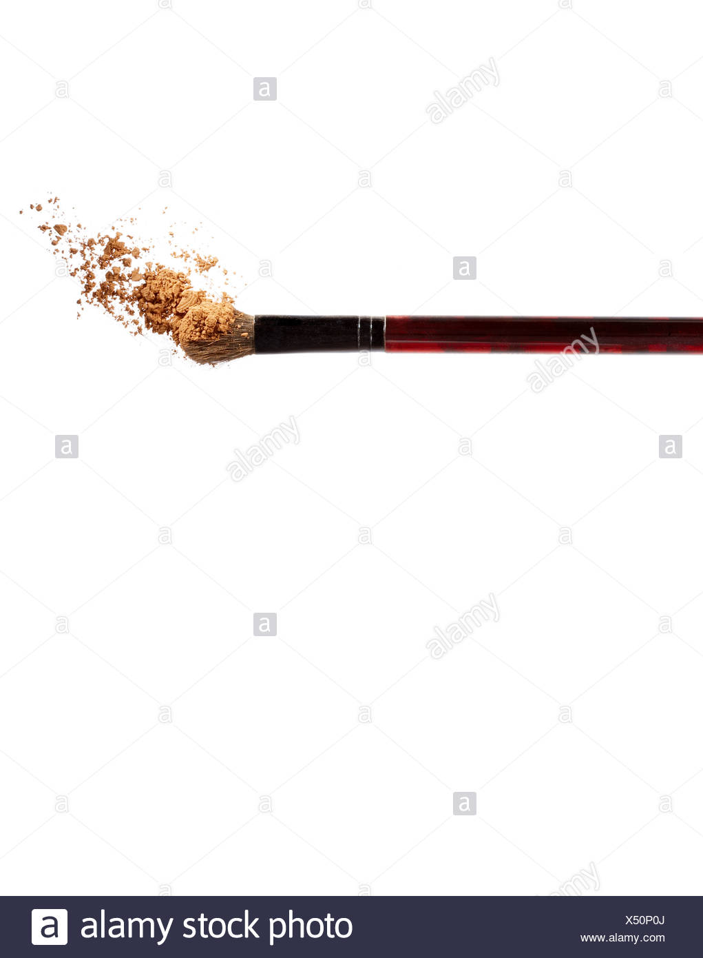 Make-up brush and cosmetic powder - Stock Image