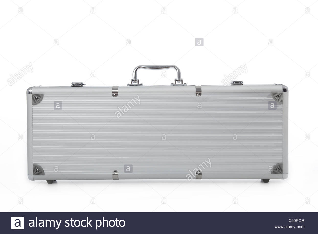Cutout of a metal secure briefcase on white background - Stock Image