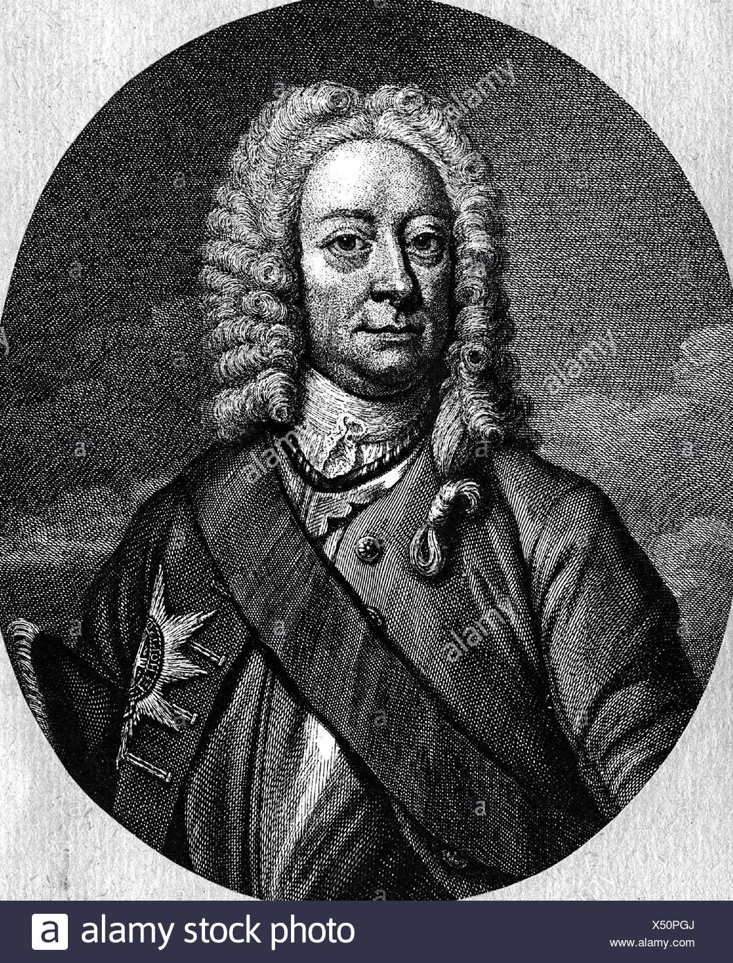 George II, 30.10.1683 - 25.10.1760, King von , Artist's Copyright has not to be cleared - Stock Image