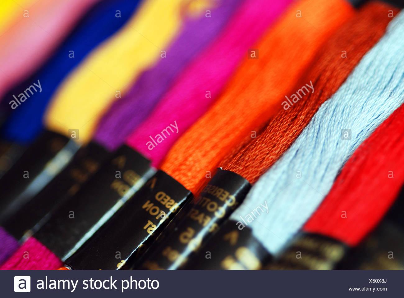 thread skeins cotton - Stock Image