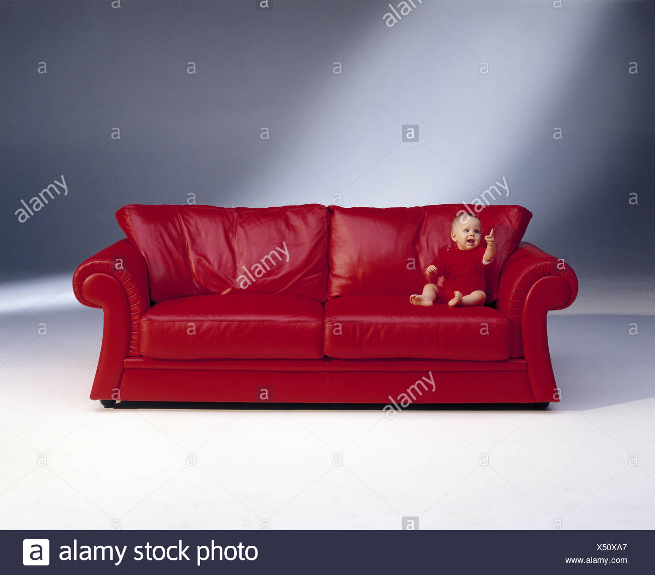 Leather sofa, infant, clothes, red, sofa, rest piece furniture ...