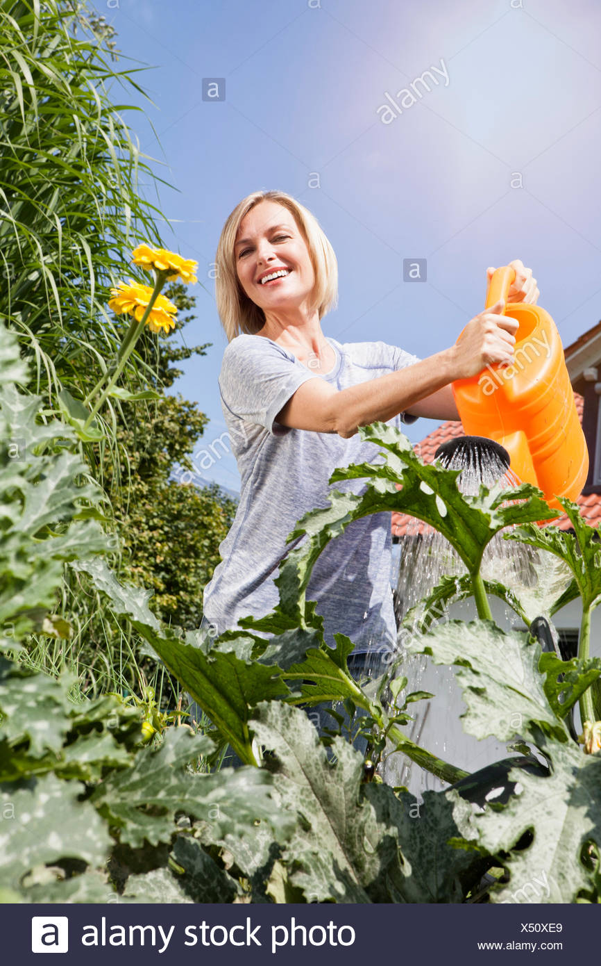Woman watering plants in garden - Stock Image
