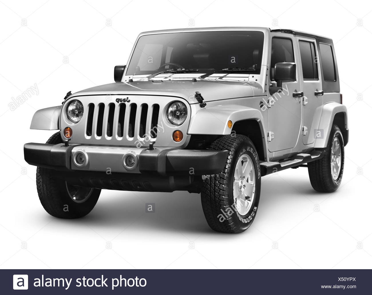Silver 2011 Jeep Wrangler Unlimited Sahara 4x4 SUV - Stock Image