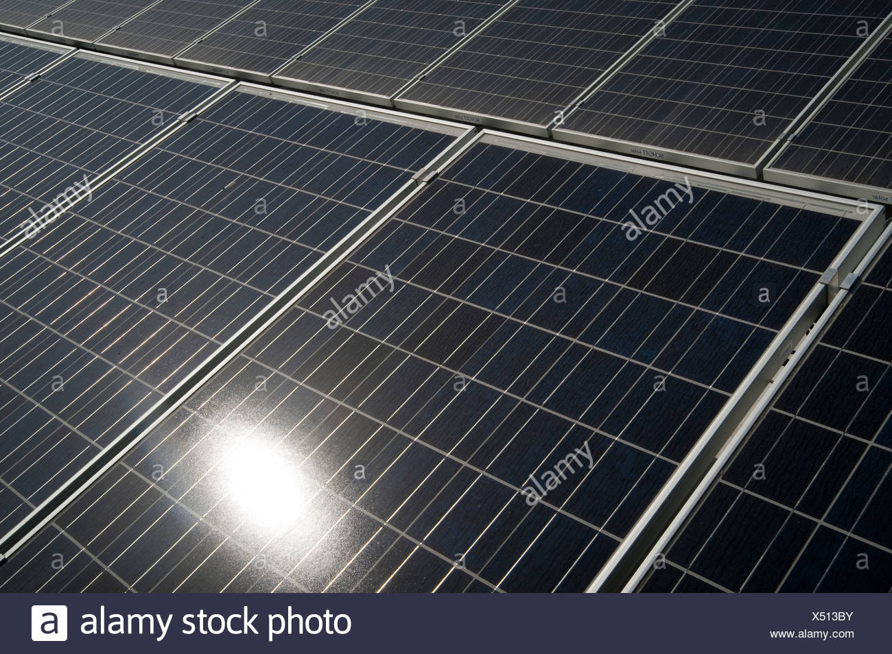 Electricity converting solar panels - Stock Image