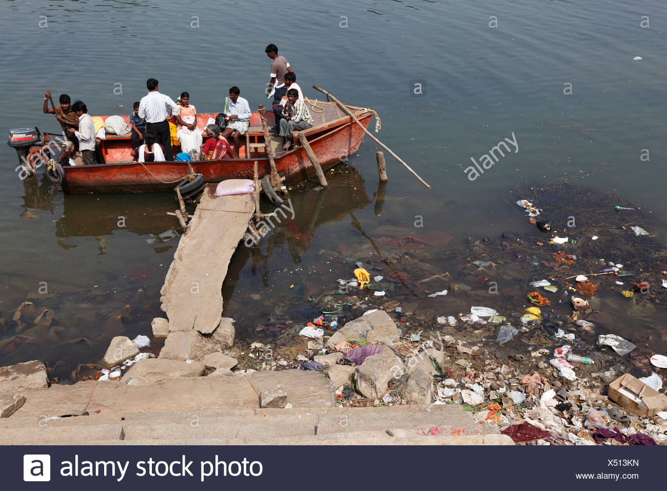 Motorboat used as a ferry, polluted riverbank, Kapila, Kabini, Kabbani River, , South India, India, South Asia, Asia - Stock Image