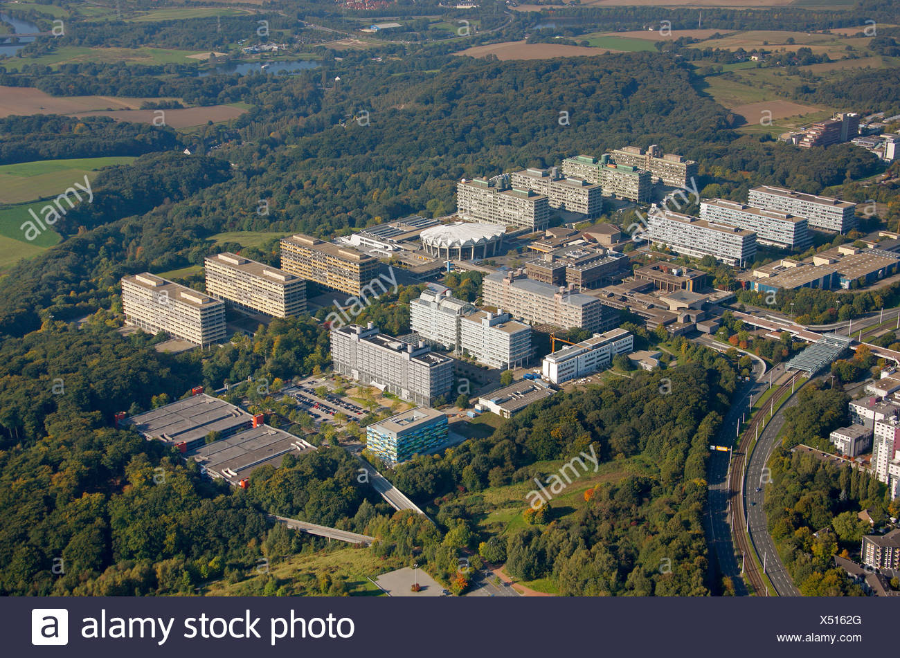 Aerial photograph, Centre for Biomedicine at the RUB, Ruhr University, Bochum, Ruhr district, North Rhine-Westphalia, Germany,  - Stock Image