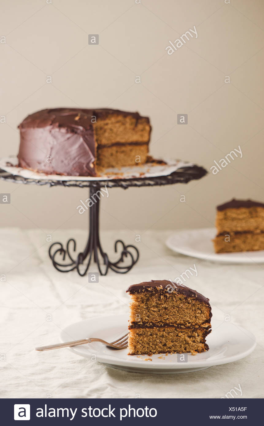 Layer Cake with Chocolate Frosting - Stock Image