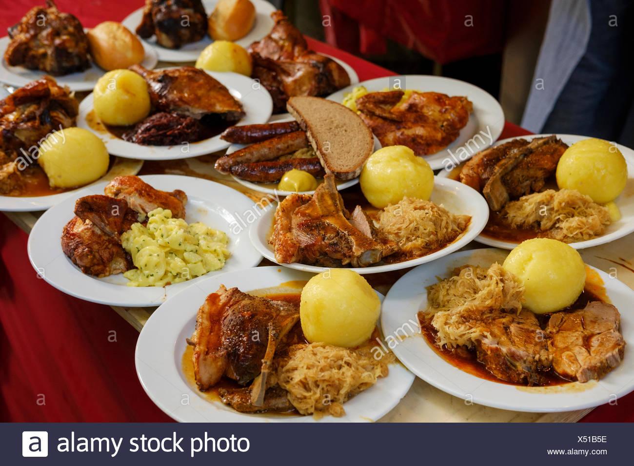 Tray with various dishes, Erlanger Bergkirchweih, Erlangen, Middle Franconia, Franconia, Bavaria, Germany - Stock Image