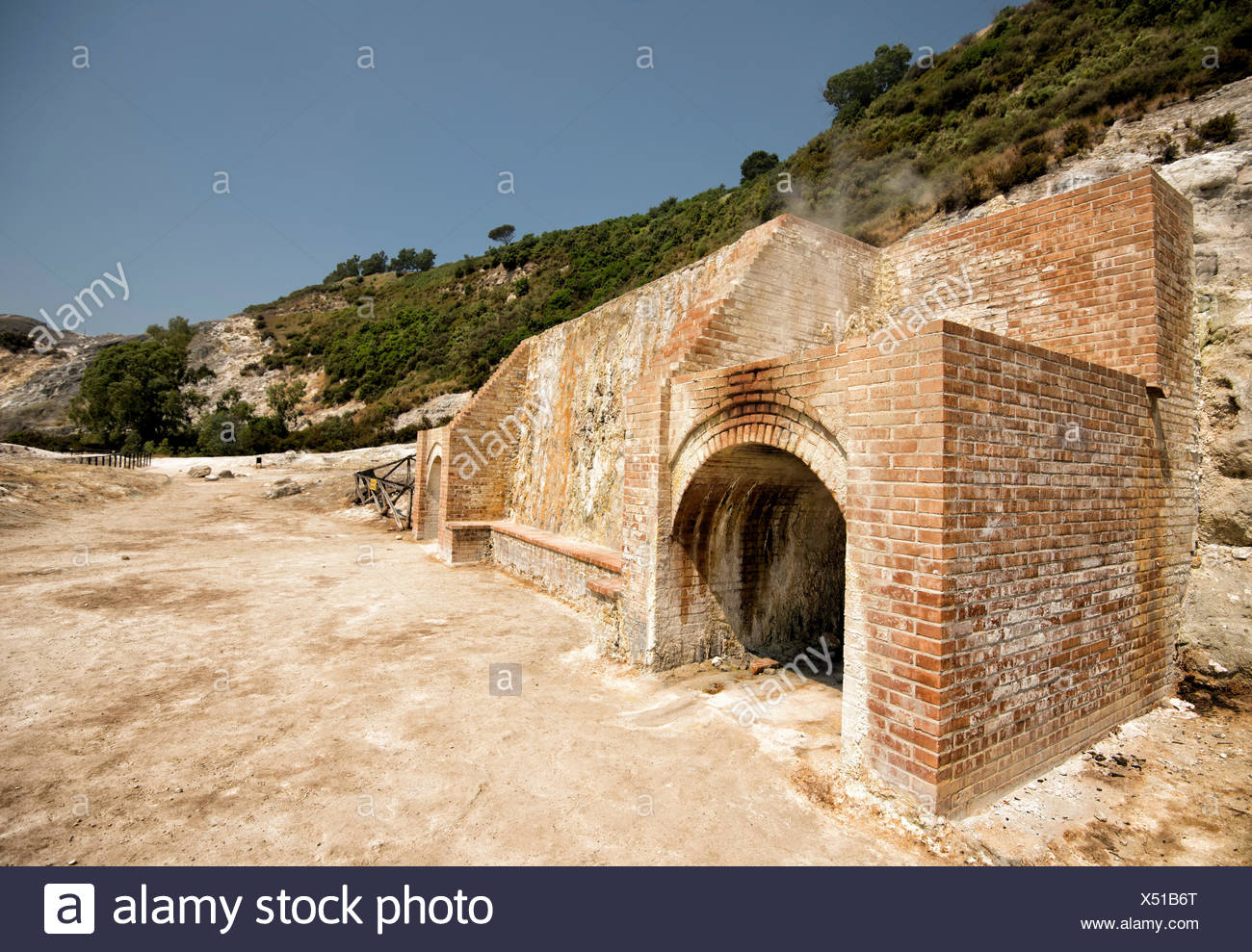 The entrance to the Solfatara crater. - Stock Image