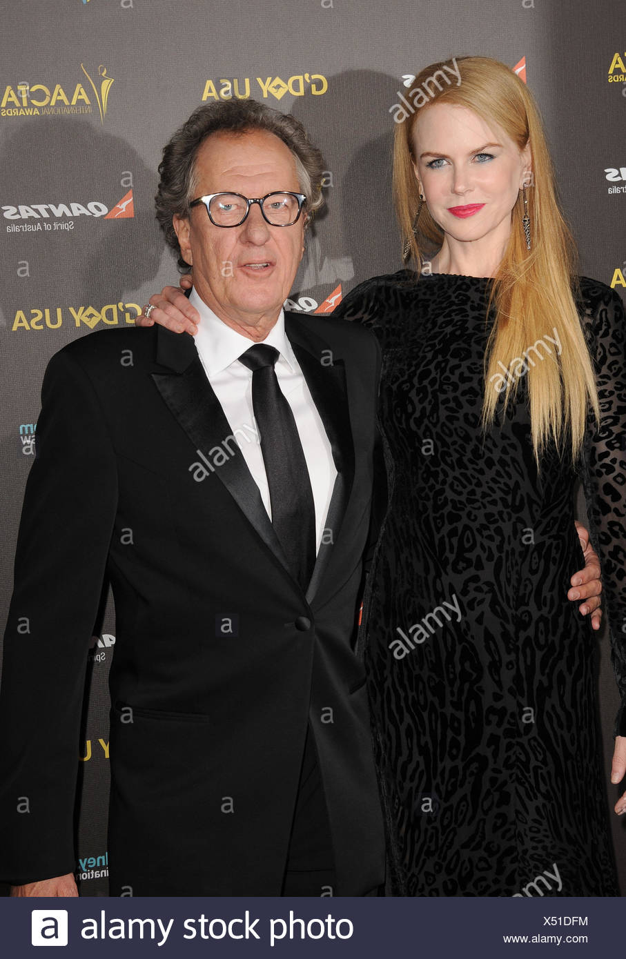 Actors Nicole Kidman (L) and Geoffrey Rush attend the 2015 G'Day USA Gala featuring the AACTA International Awards presented by Qantas at Hollywood Palladium on January 31, 2015 in Los Angeles, California., Additional-Rights-Clearances-NA - Stock Image