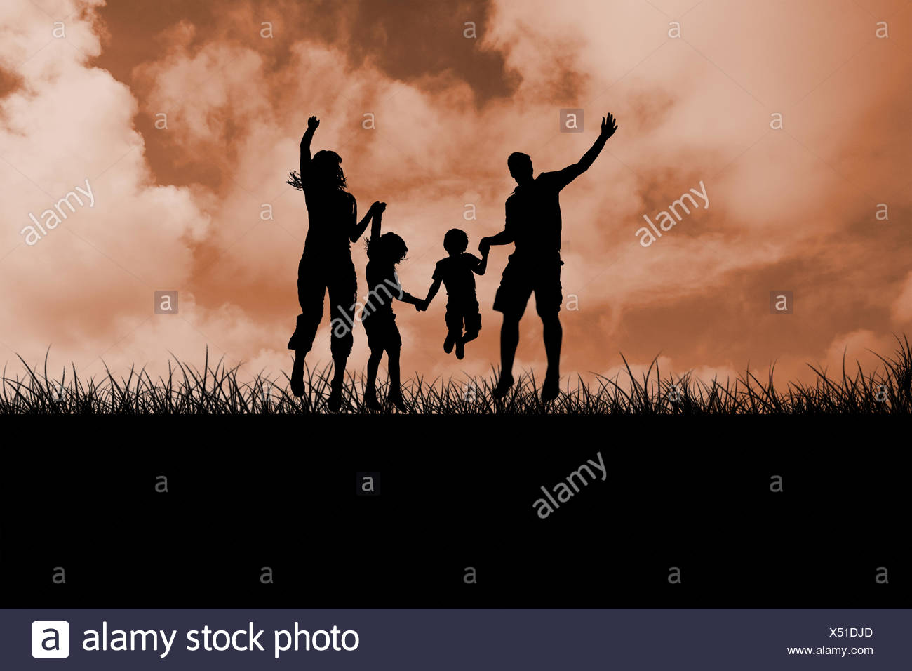 Composite image of silhouette of family jumping - Stock Image