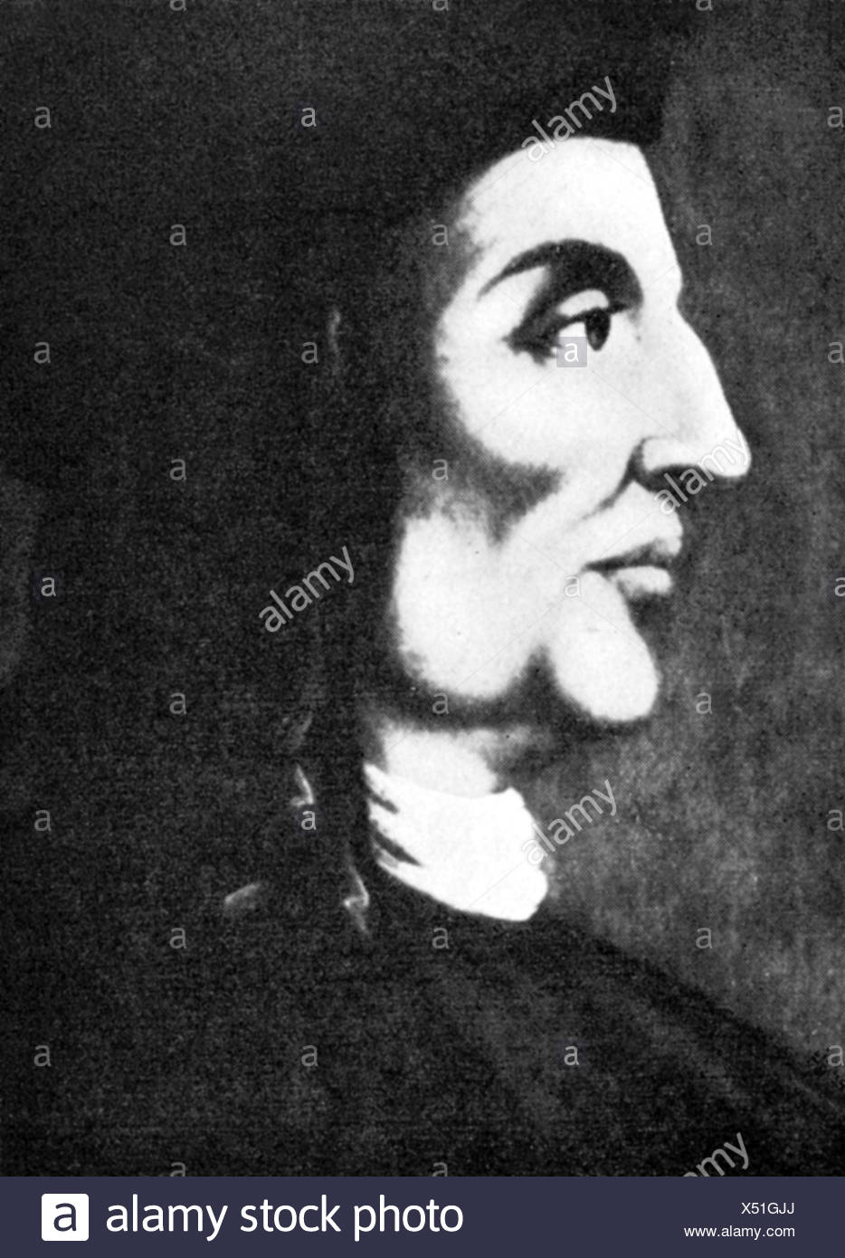 Zarlino, Gioseffo, 22.3.1517 - 14.2.1590, Italian composer, music theorist, portrait, side face, after contemporary image, Additional-Rights-Clearances-NA - Stock Image
