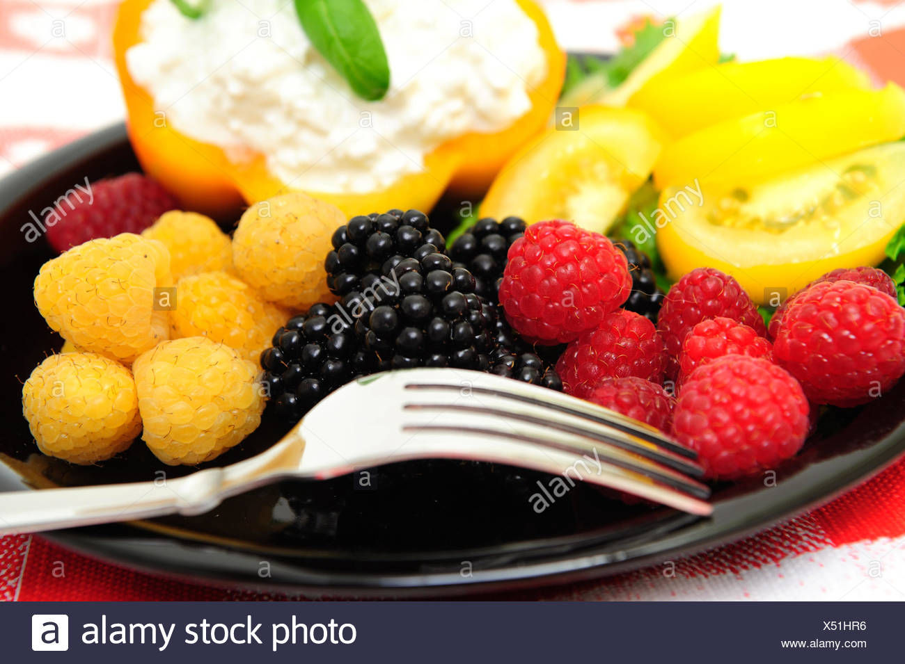food aliment fruit raspberry berry dessert blackberry food aliment sweet - Stock Image