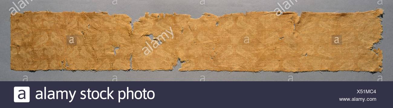 Figured woven silk textile fragment with birds. Date: 5th-6th century; Culture: Byzantine; Medium: Silk, weft-faced compound twill (Samit) weave; - Stock Image
