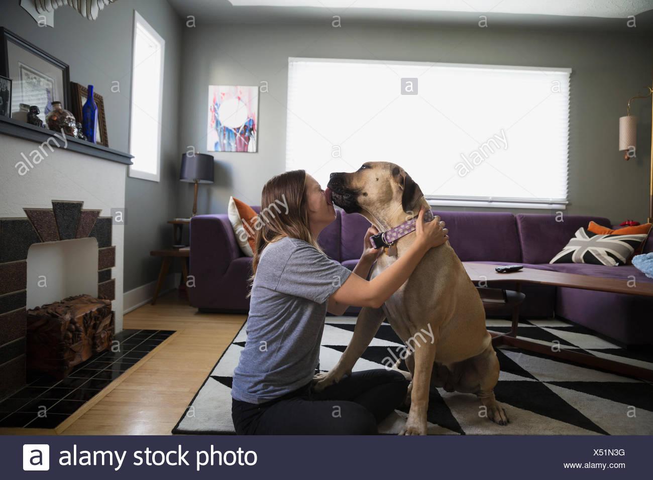 Dog kissing woman on living room floor - Stock Image
