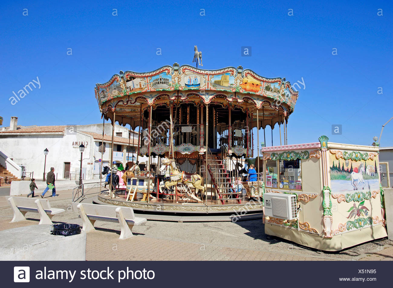 Carrousel, Les Saintes-Maries-de-la-Mer, Camargue, Bouches-du-Rhone, Provence-Alpes-Cote d'Azur, Southern France, France, Europe Stock Photo