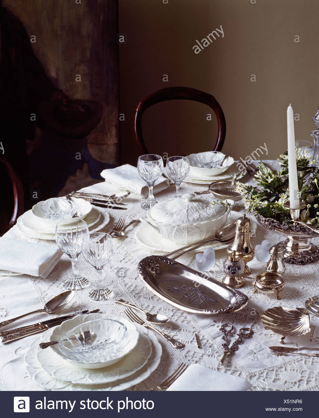 Silver Dinner Table Setting - Stock Image & Posh Dinner Table Setting Stock Photos \u0026 Posh Dinner Table Setting ...
