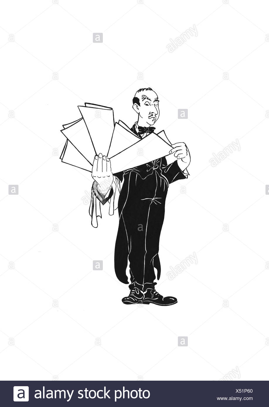 Waiter handing out the menus - Stock Image