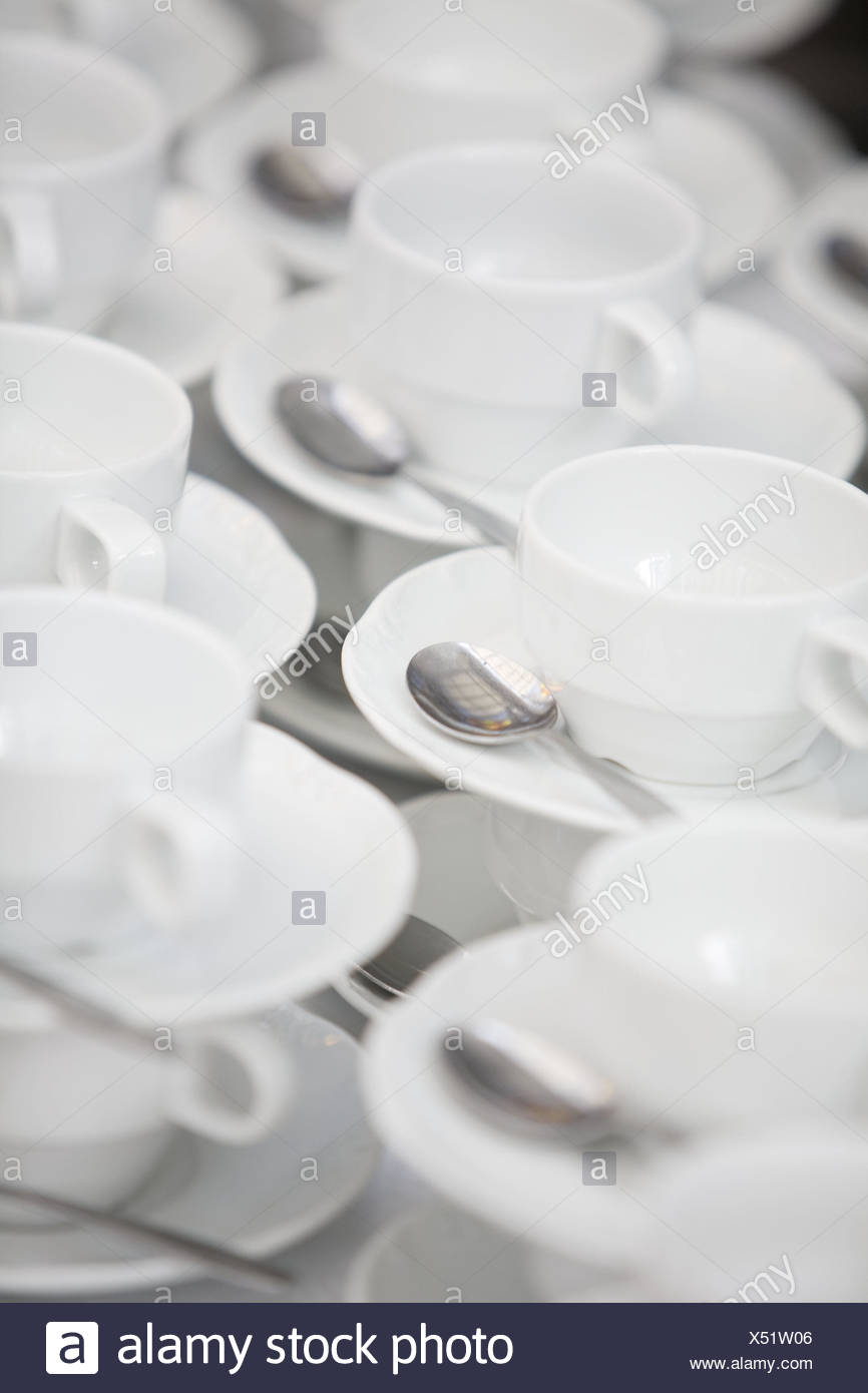 Coffee things, cleanly, stacked, dishes, cups, coffee cups, unterplates, know, spoon, coffee spoon, unused, many, preparation, provision, gastronomy, product photography, uncolored, - Stock Image
