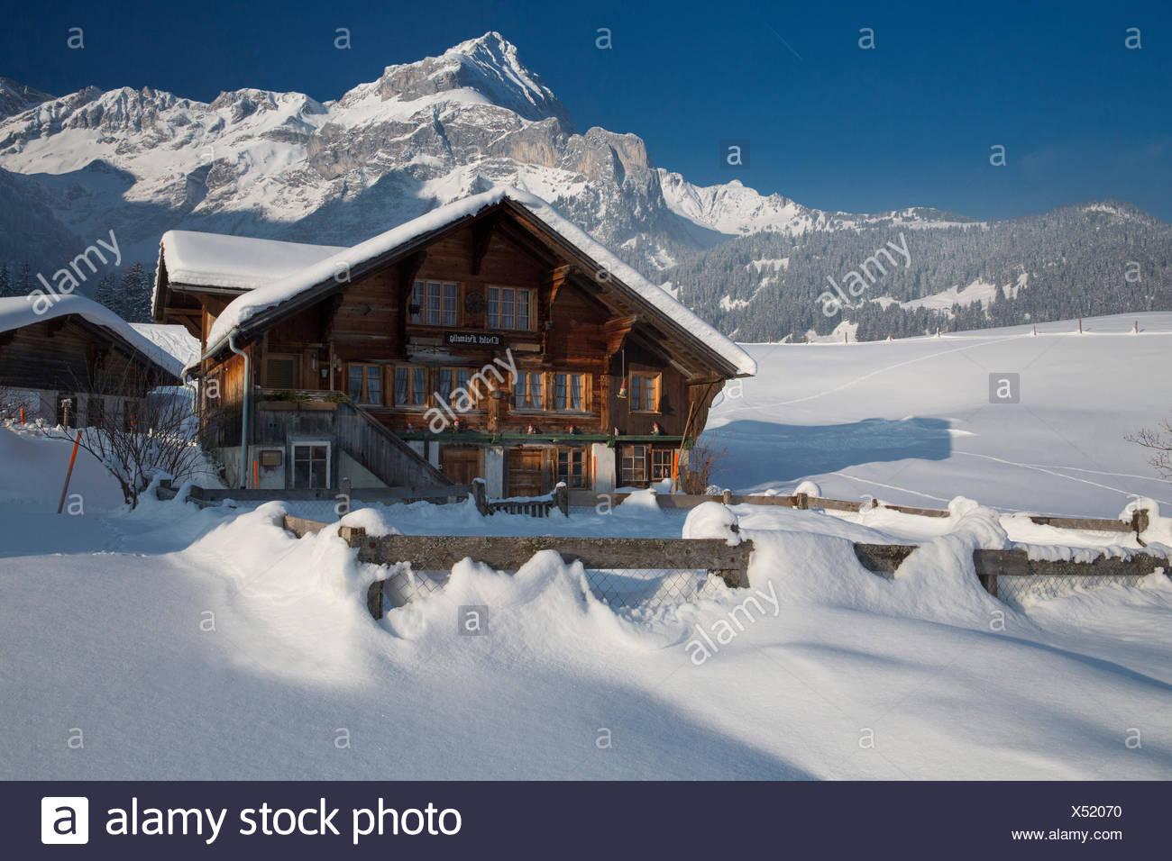 Chalet near Spitzhorn in Gsteig, - Stock Image