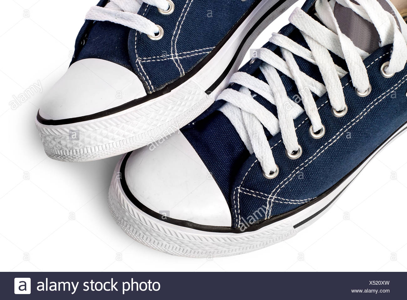 Closeup of dark blue athletic shoes - Stock Image