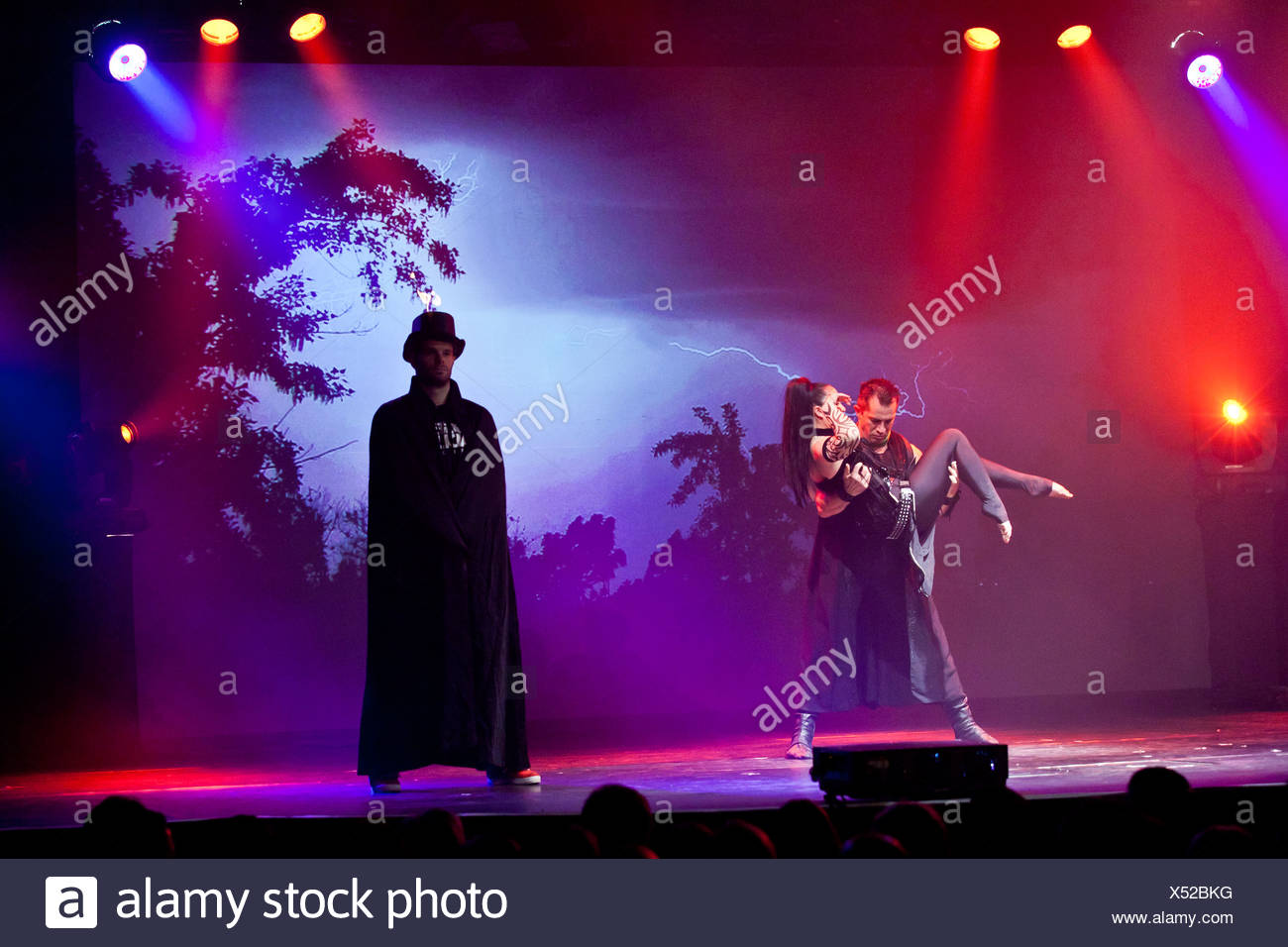 Artistic performances accompanying rock songs, live, Das Zelt - Rock Circus, Lucerne, Switzerland, Europe - Stock Image