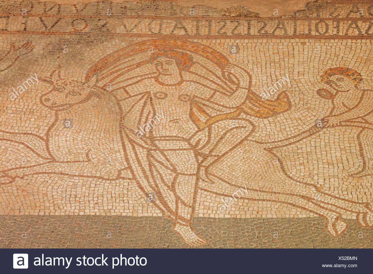 England, Kent, Lullingstone Roman Villa, Detail of Mosaic Flooring Showing The Roman God Jupiter Abducting Princess Europa while Disguised as a Bull - Stock Image