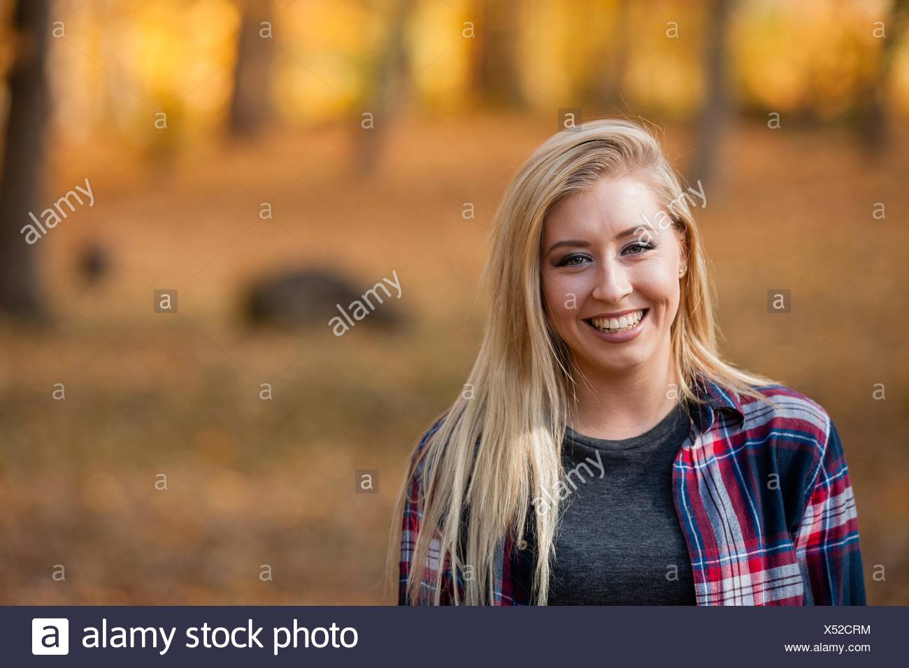 Head and shoulder portrait of young woman with long blond hair in autumn forest - Stock Image