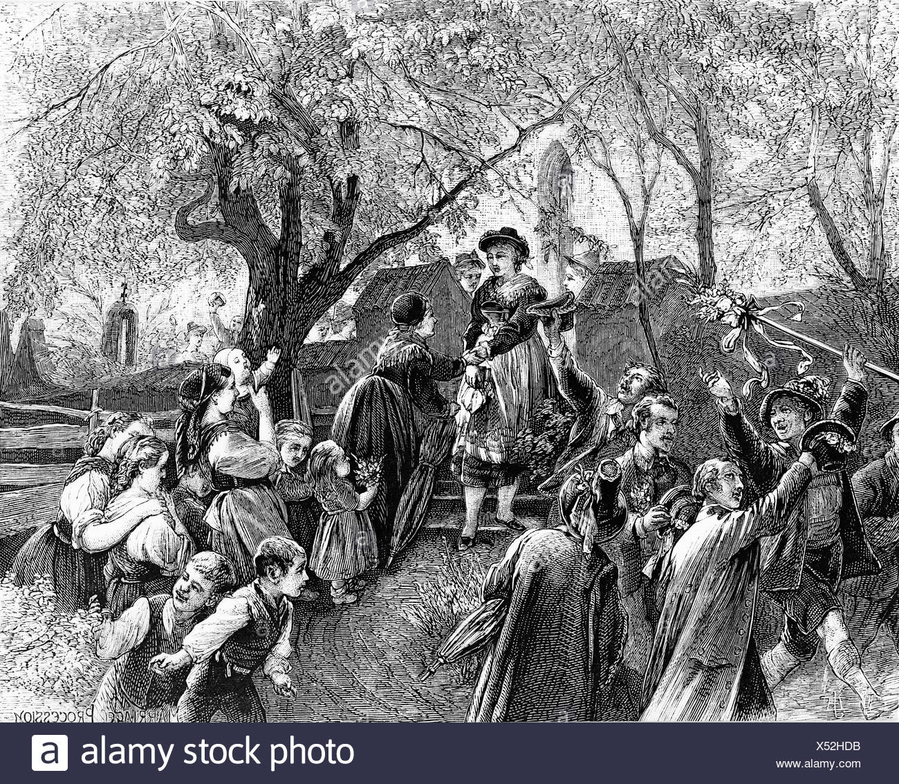 Farmer's wedding in front of the church of Lenggries, engraving, c. 1830, Upper Bavaria, Bavaria - Stock Image