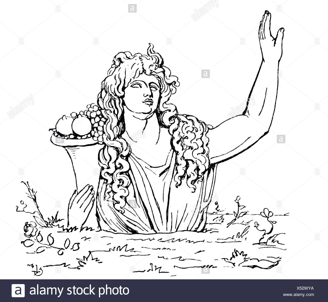 Gaia, goddess, the earth, engraving, 19th century, mother, land, Greece, mythology, Gaea, Ge, , Additional-Rights-Clearances-NA - Stock Image