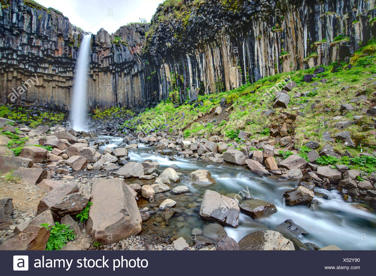 The Svartifoss with its basaltic columns in southe - Stock Image