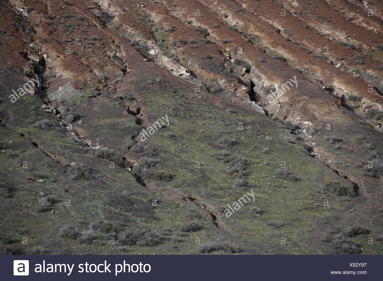 Spain, the Canaries, island Lanzarote, scenery, volcanically, erosion sulcuses, volcano island, erosion, dryness, rock, fissures, lava scenery, outside, deserted, floor, nature, - Stock Image
