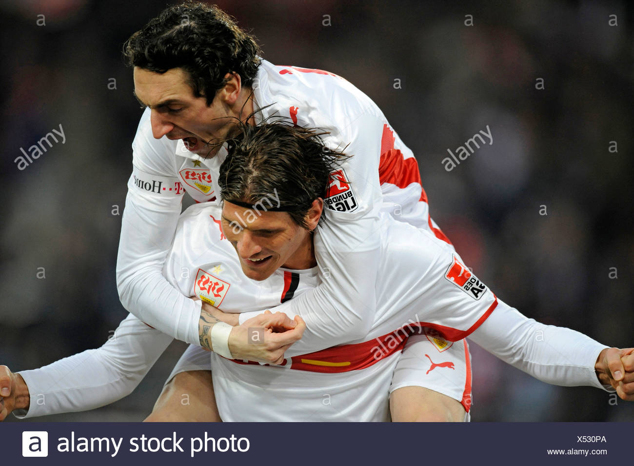 Goal celebration, Mario Gomez, bottom, and Roberto Hilbert, on top, VfB Stuttgart - Stock Image