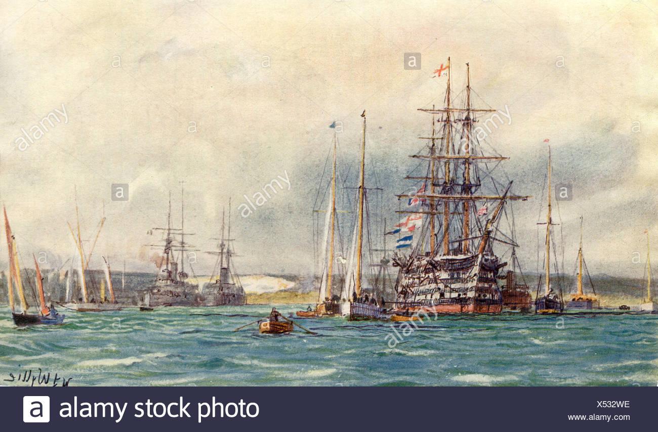 Battleships in the Sea - Stock Image