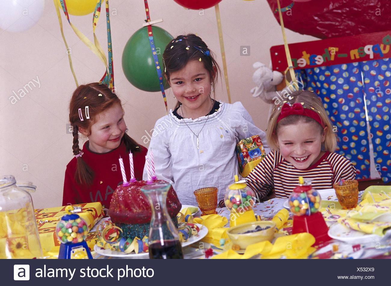 Childrens birthday party girl present birthday celebration