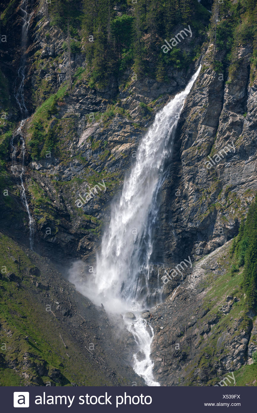 To dust waterfall, Switzerland, Europe, canton, Uri, valley of schachen - Stock Image