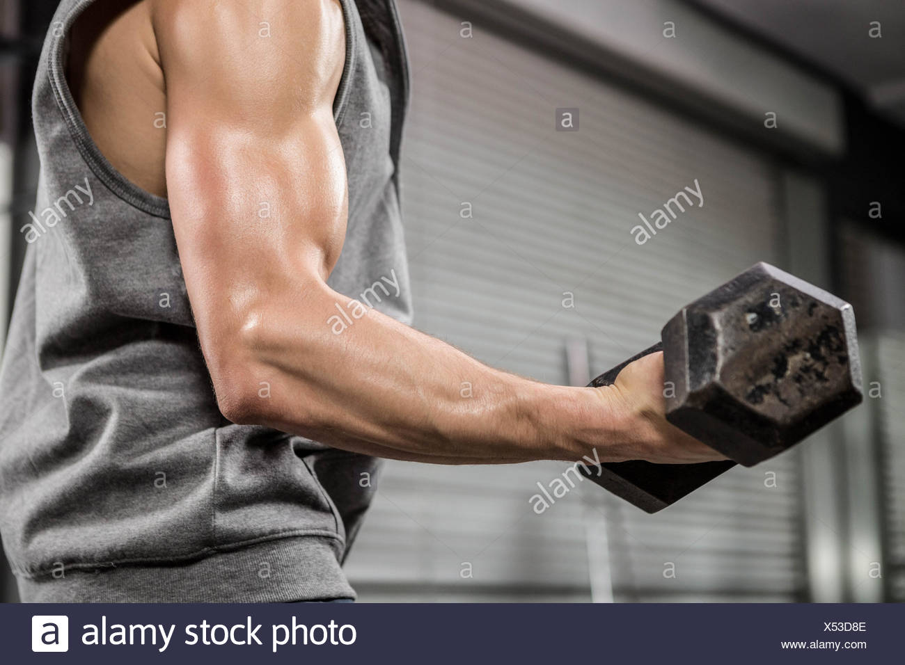 Muscular man with grey jumper lifting dumbbell - Stock Image