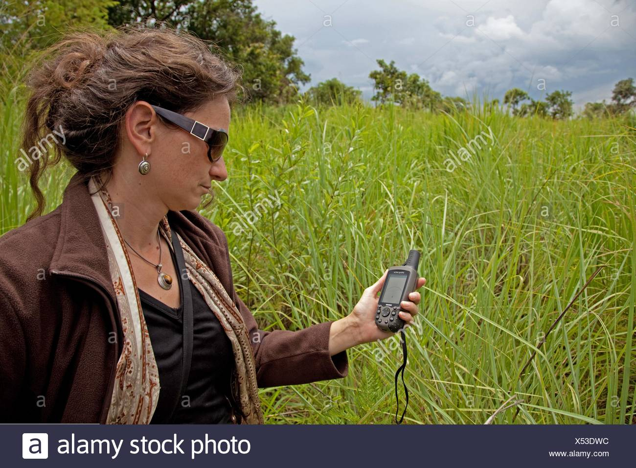 tourist orients herself with the help of a GPS computer at the 'National Parc de la Ruvubu' at the East of the country, Burundi, National Parc de la Ruvubu, Cankuzo - Stock Image
