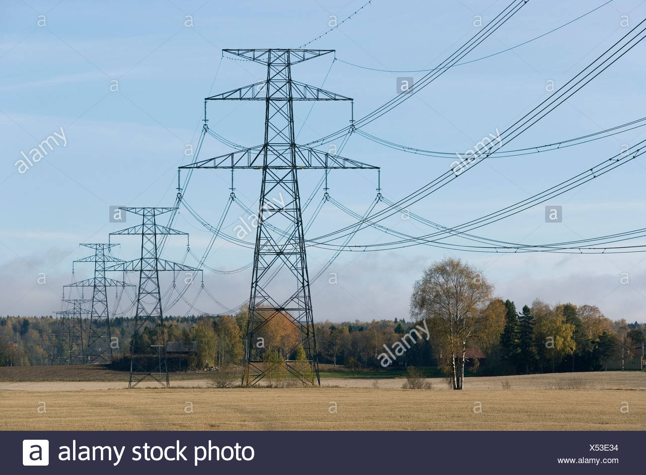 Low angle view of power lines on peaceful landscape against the sky - Stock Image