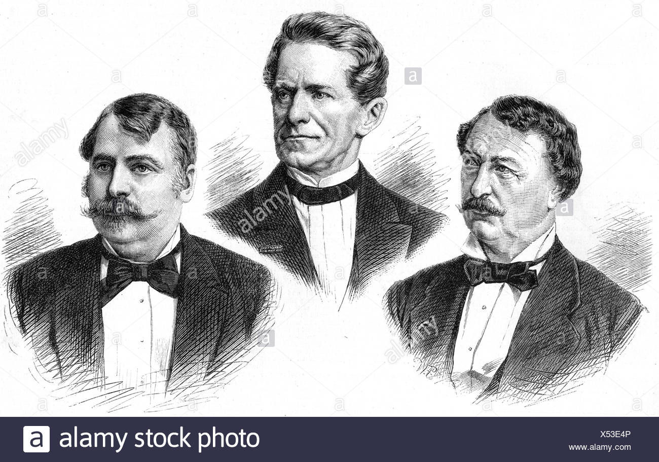 portraits of the Joseph Tichatschek (opera singer), Friedrich Oskar v. Schwarze (lawyer), and O.F. Berg (Ottokar Franz Ebersberg, poet and journalist), wood engravings, 1886, , Additional-Rights-Clearances-NA - Stock Image