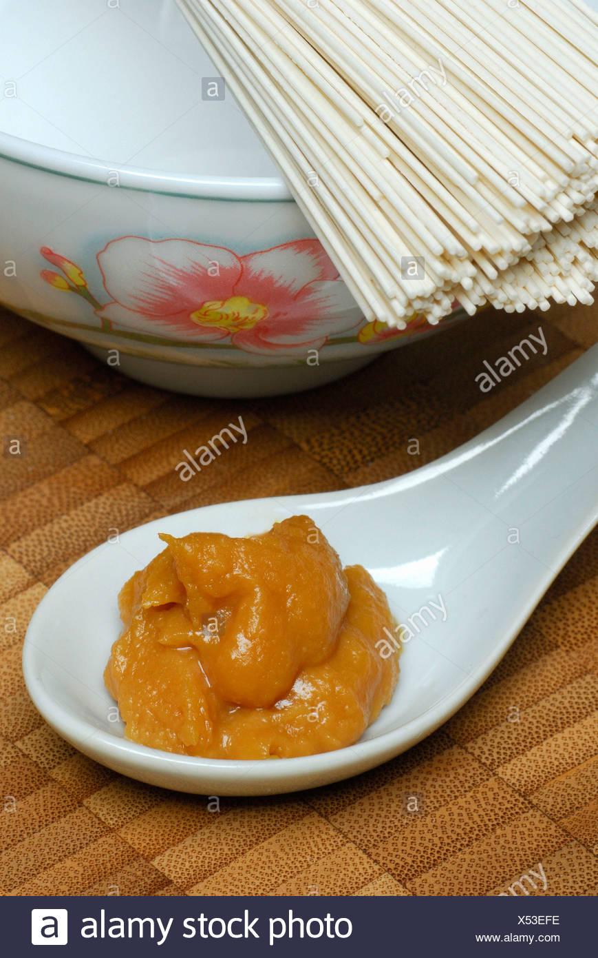 Noodles and Miso paste - Stock Image