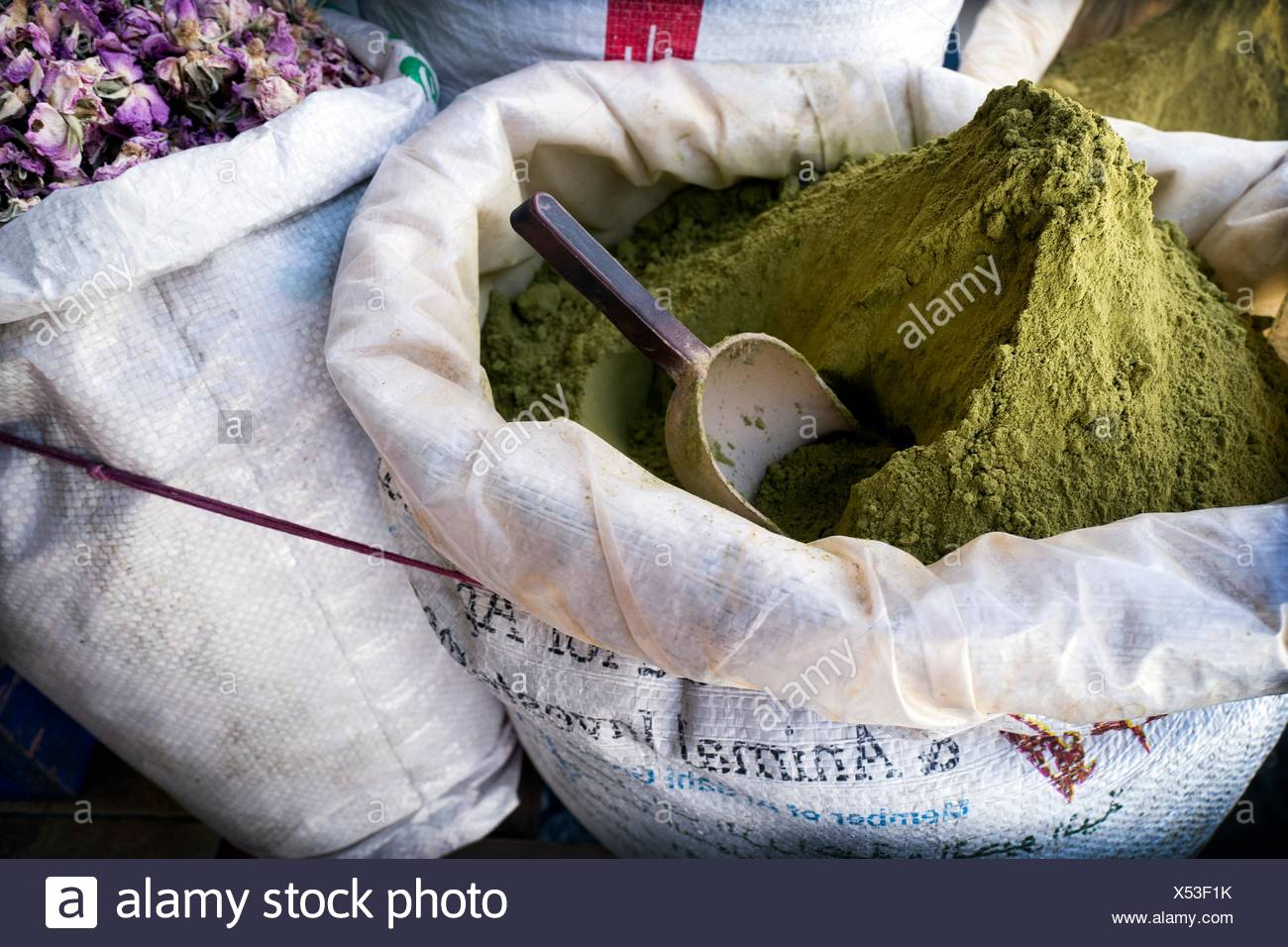 Sacks with henna for hair dying. Chaouen, Morocco - Stock Image