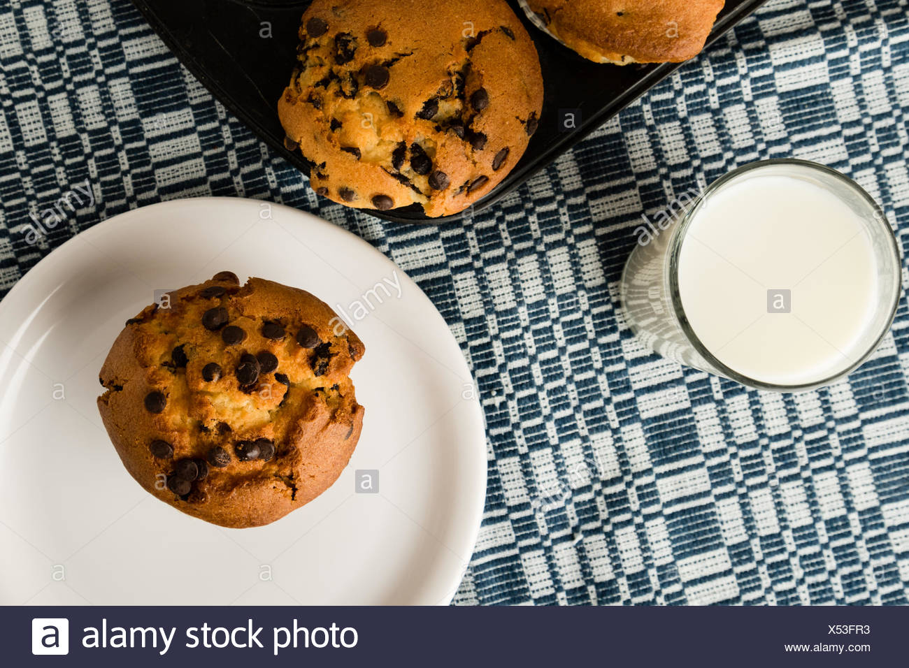 freshly baked chocolate chip muffins - Stock Image